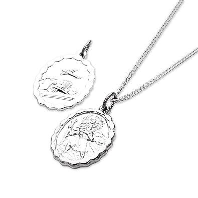 Collier et Pendentif Médaille de Saint-Christophe Ovale en Argent 925 1000  - 61cm ec488338bc70