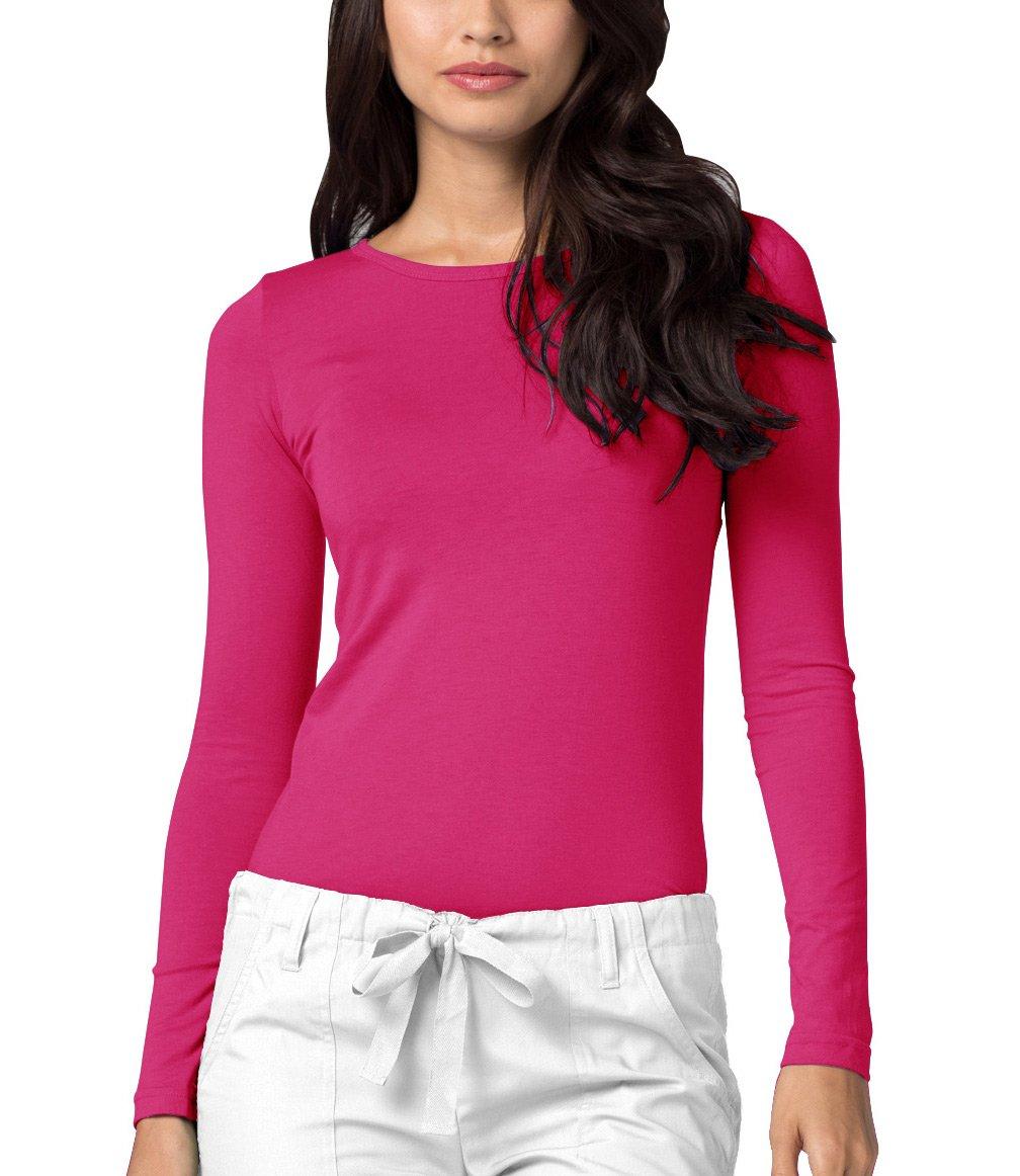 Adar Womens Comfort Long Sleeve T-Shirt Underscrub Tee - 2900 - Fuchsia - XS