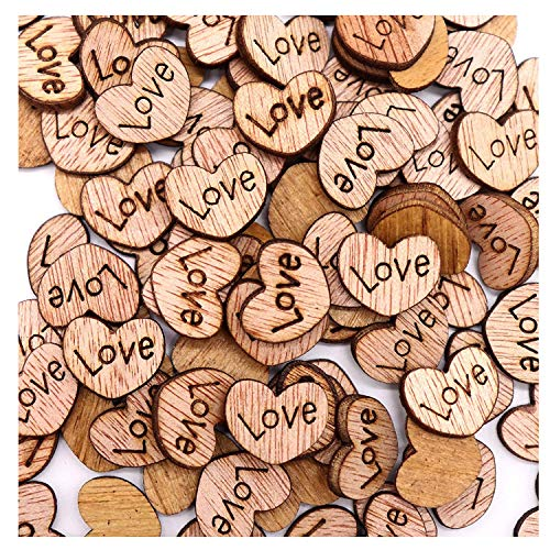 (Goldenlight 500Pcs Rustic Wooden Love Heart Wedding Table Scatter Decoration Cute Wood Hearts for Crafts Bulk DIY)