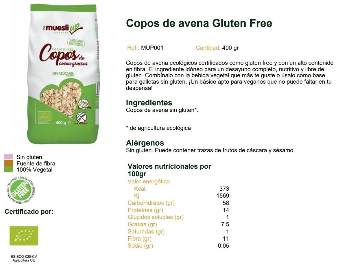Copos de avena gruesos gluten free BIO - Muesli Up - 400gr ...