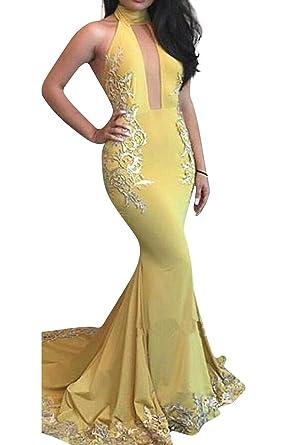 Marsen Women Sexy High Neck Mermaid Prom Dress Halter Bodycon Long Evening Gown Yellow Size XS