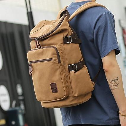 Ploekgda Retro Canvas Bag High School Student Backpack Bag Computer Outdoor Travel  Leisure Shoulder Bag (Color   Coffee)  Amazon.co.uk  Kitchen   Home 534af08f1bf40