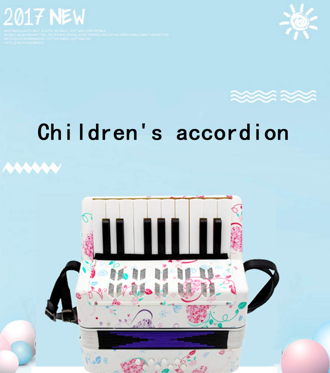 SFQNPA Heart-Shaped Children's Amateur Beginner Mini 17-Key 8 Bass Accordion Educational Instrument Toy Kids Piano Percussion Accordion Musical Toy,Green by SFQNPA (Image #7)