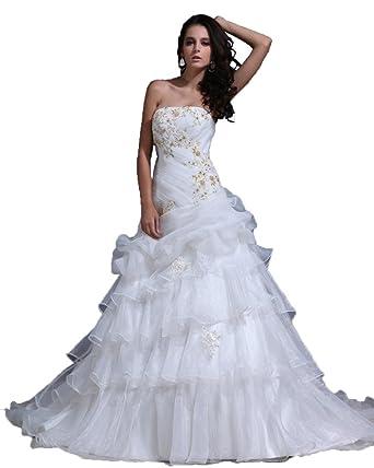 Yang Zhengmei Bra Manual Paste Diamond Sequined Lace Wedding Dress Ivory 2