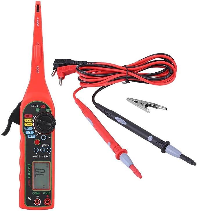 Qiilu Multímetro para reparación de coche, herramienta de diagnóstico eléctrico para coche, color rojo