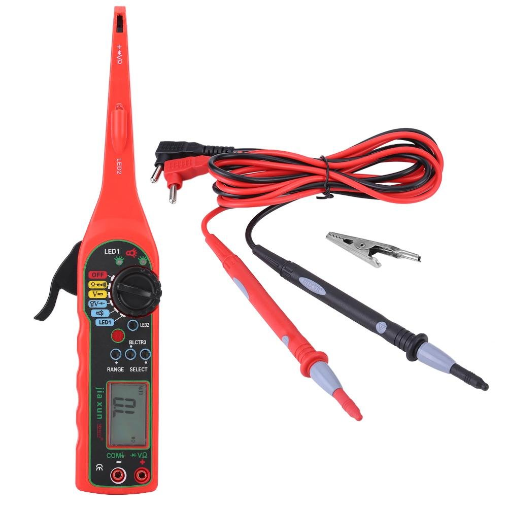 4 in 1 Auto Circuit Tester Multimeter Car Repair Automotive Electrical Diagnostic Tool , Measuring Voltage Current Resistance Diode With Pulsing Signal Line Tester (Red) Walfront