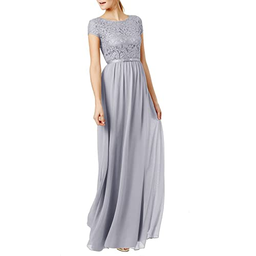 Ssyiz Womens Vintage Round Neck Short Sleeve Bridesmaid Dresses Floral Lace Chiffon Evening Dress Custom