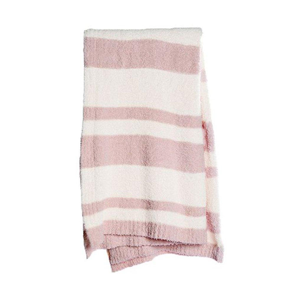 BarefootDreams Cozychic Baja Blanket - Dusty Rose / Cream by Barefoot Dreams