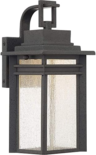 Quoizel BEC8406SBK Beacon Outdoor Wall Sconce, 1-Light, LED 14 Watts, Stone Black 13 H x 6 W