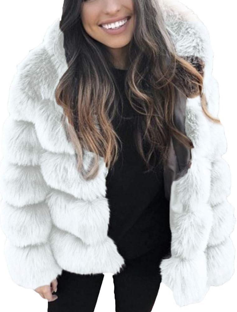 LUCKYCAT Chaquetas de visón para Mujer Abrigo de Invierno Nueva ...