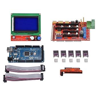 Nrpfell Mega 2560 R3 Tabla + LCD12864 + RAMPAS 1.4 + 5 pcs DRV8825 ...