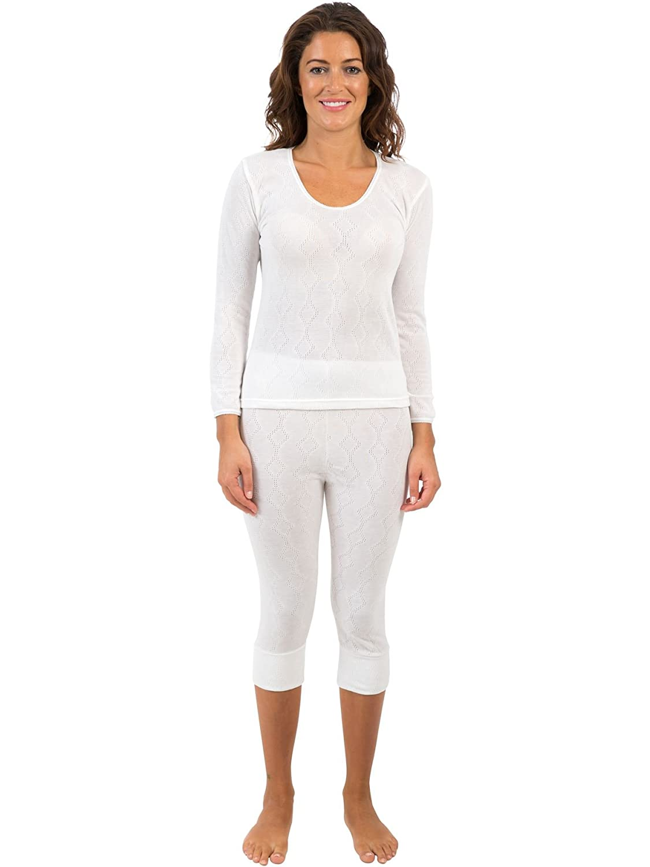 2 Pack Womens/Ladies Thermal Underwear Sets Long Sleeve Vest & 3/4 Length Long Pants, Various Sizes
