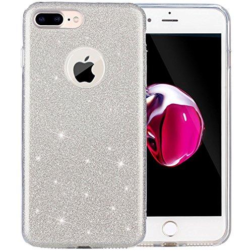 iPhone 8 Plus Hülle / iPhone 7 Plus Hülle VPOWER Schutzhülle Silber Glitzer