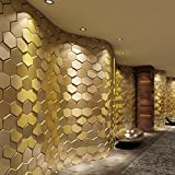 Art3d 20-Pieces Decorative 3D Wall Panels Faux Leather Tile, Golden Hexagon