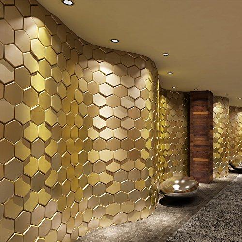 Art3d 20-Pieces Decorative 3D Wall Panels Faux Leather Tile, Golden Hexagon