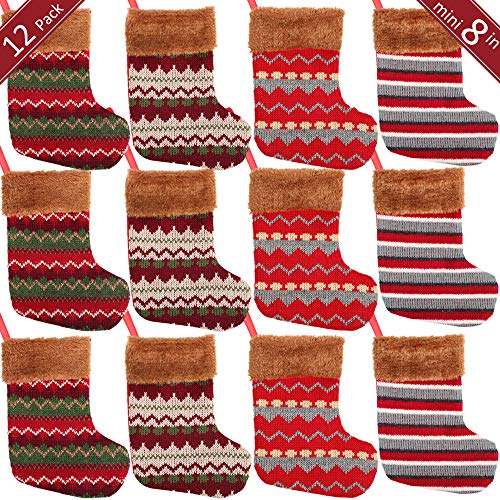PartyBus 8 Inch Mini Christmas Stockings 12 Pack,