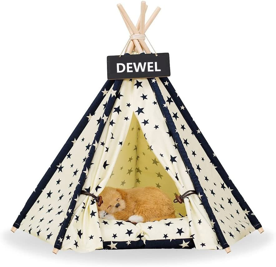DEWEL Pet Teepee Removable Washable Dog Bed Portable Cat Tent Pet Sweet House for Dog Cat Pet Without Cushion