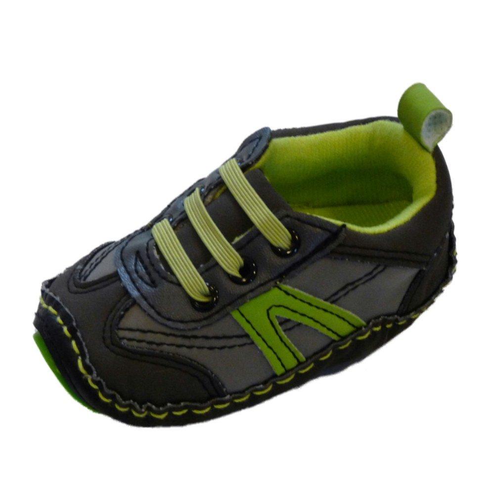 Rising Star Infant Boys Gray /& Green Tennis Shoes Soft Baby Crib Shoes