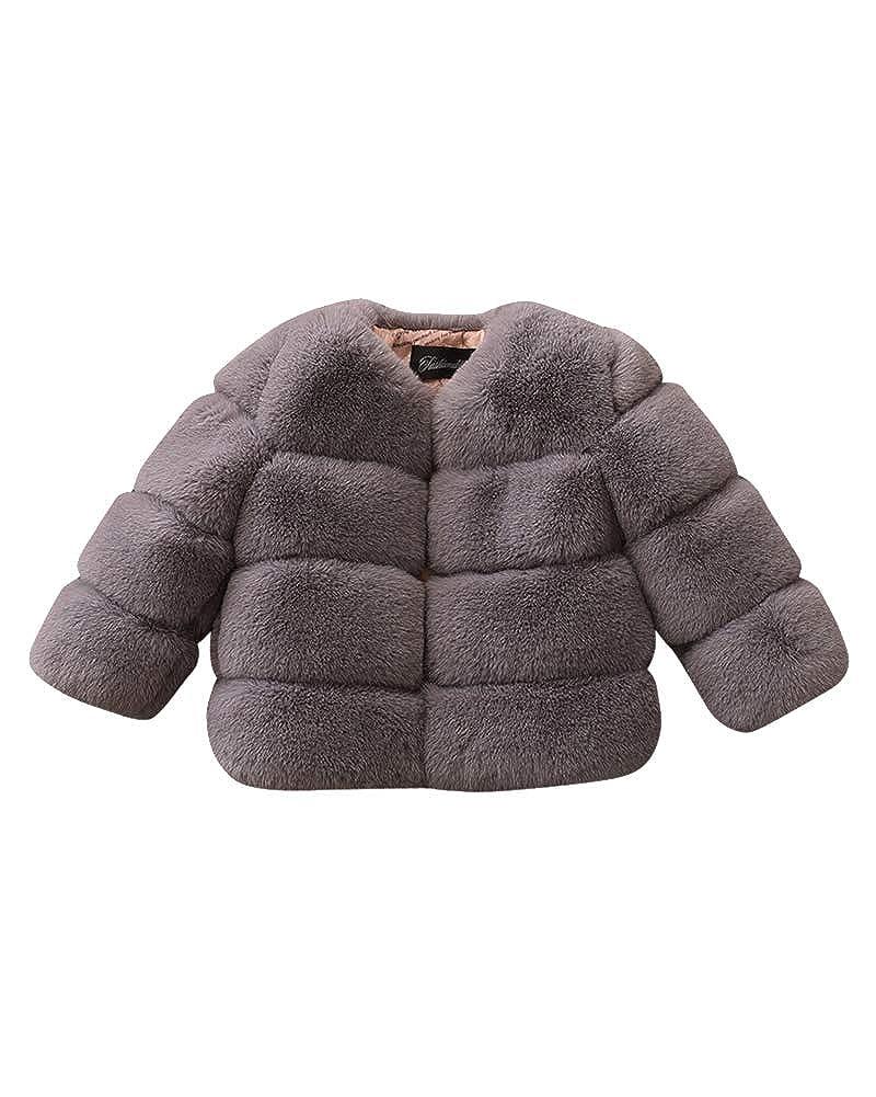 ShiFan Giacca del Mantello per Ragazze Bambino Pelliccia del Faux Cappotto Caldo Coat