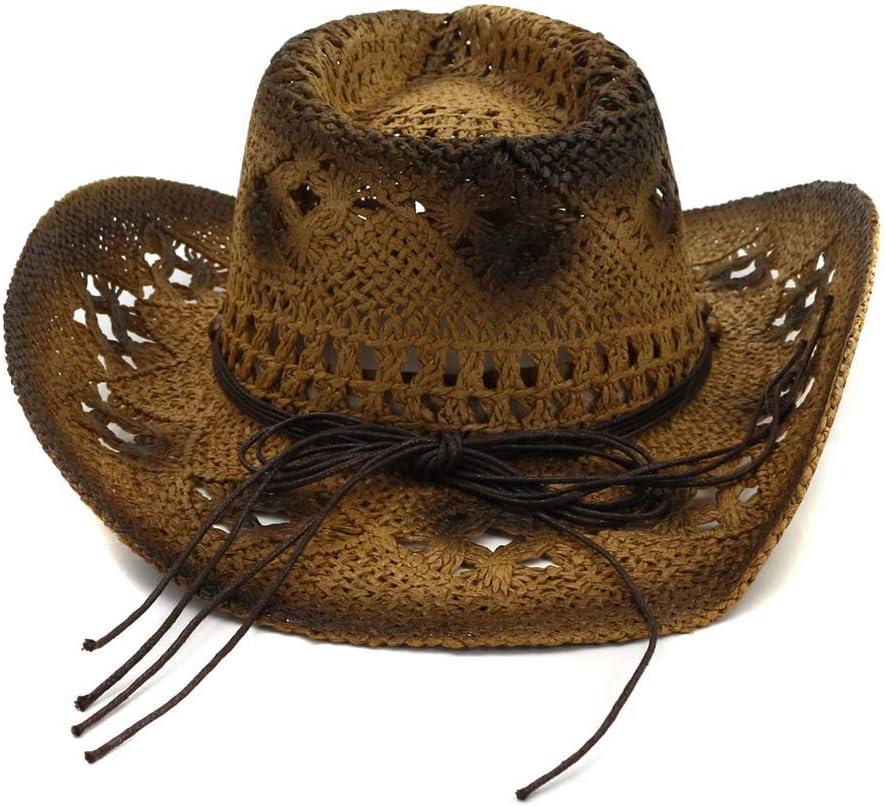 ELD Vaquero Sombrero de Paja del Sombrero de Copa Crespo Mujeres Retro Turquesa Correa de Cuero C/úpula Vaquera Casquillos del Verano de la Playa del Sombrero del Jazz del Sombrero