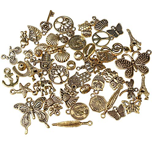 Jewelry Charms, EUBags 50 PCS Antique Gold Assorted Mixed Charms Pendants DIY for Necklace Bracelet Jewelry Making and -