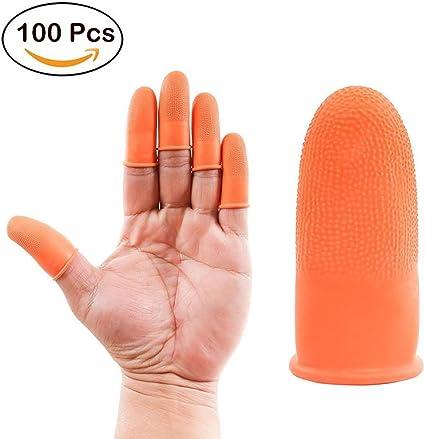 100PCS L Prevent Slip Rubber Finger Cots Protector Fingertip Gloves Anti Static