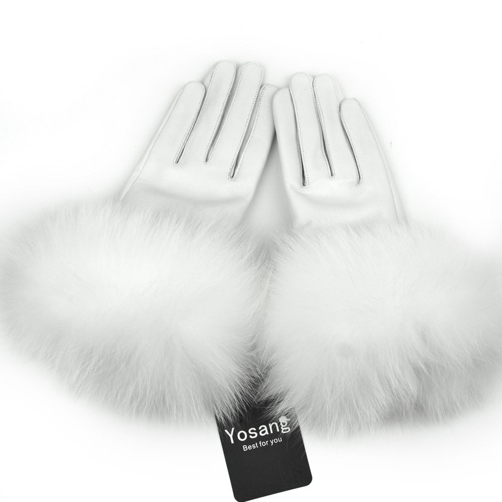 Yosang Women Genuine Lambskin Leather Winter Gloves with Fox Fur Trim White Large