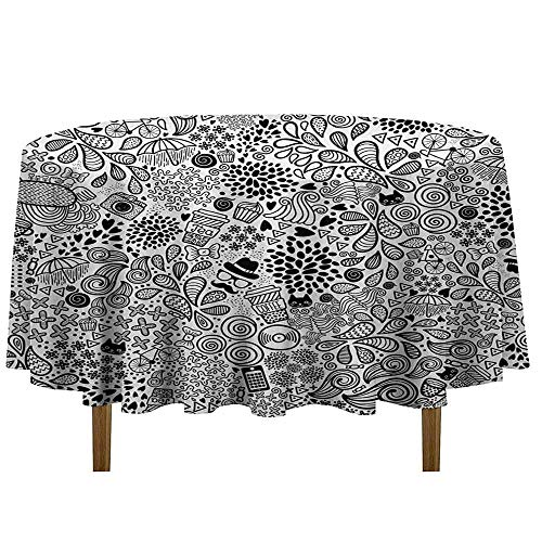 DouglasHill Doodle Leakproof Polyester Tablecloth Hipster Inspired Abstract Drawing Cupcake Tea Umbrella Leaves and Many Other Shapes Outdoor and Indoor use D35 Inch Black White]()