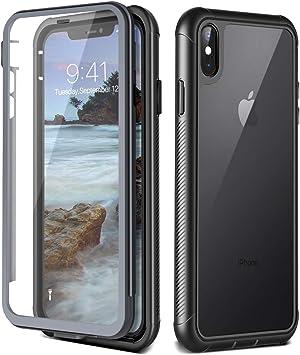 Prologfer Funda para iPhone XS MAX 360 Grados Transparente Carcasa Resistente con Protector de Pantalla incorporada Prueba de Golpes y Suciedad Cover para iPhone XS MAX Negro: Amazon.es: Electrónica