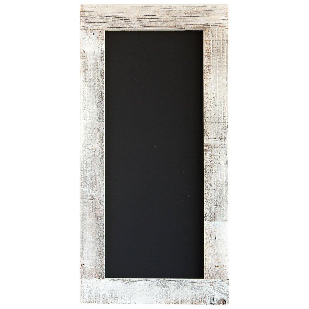 Drakestone Designs Barnwood Framed Chalkboard   Wall Mount   Handmade Rustic Reclaimed Wood   24 x 12 Inch - Whitewash