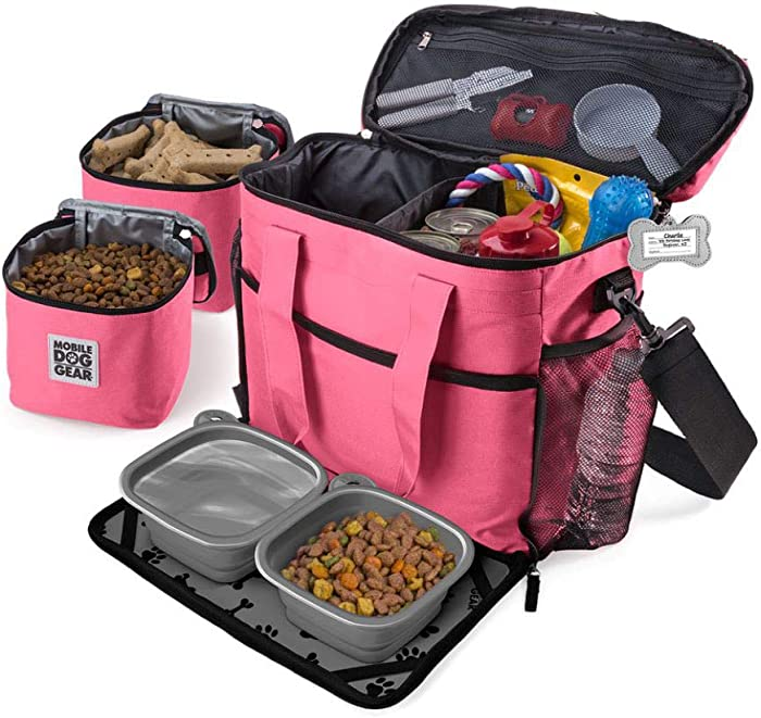 Mobile Dog Gear, Week Away Dog Travel Bag for Medium and Large Dogs, Includes Lined Food Carriers and 2 Collapsible Dog Bowl, Pink