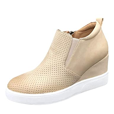 e6be2de431dd Womens Wedge Platform Sneakers Ankle Booties Heel Zipper Faux Leather  Comfort Casual Shoes