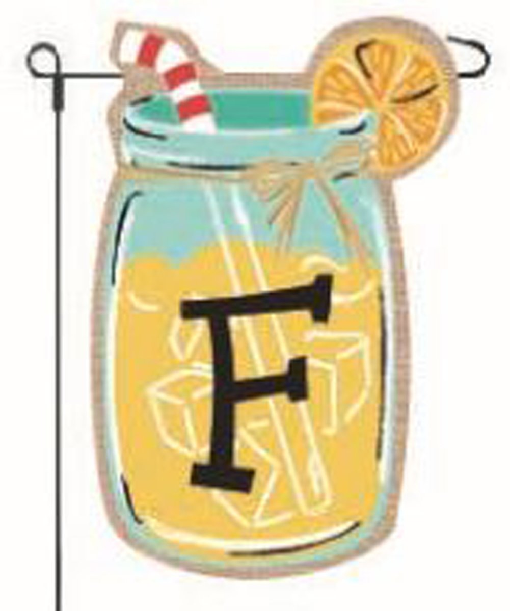 Home Garden Flags Monogram Lemonade Mason Jar Burlap Summer Garden Flag 12.5 x 18""