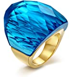 Womens Mens Stainless Steel Ring Super Sized Blue Crystal Ring,18K Gold Plated,Size 6 to 9