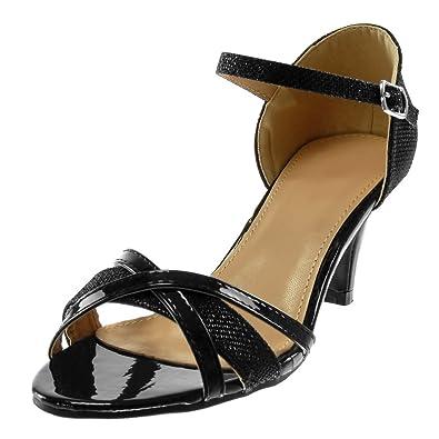 Angkorly Damen Schuhe Sandalen Pumpe Knöchelriemen Metallischen Schick Gekreuzte Riemen Glänzende String Tanga Trichterabsatz High Heel 7