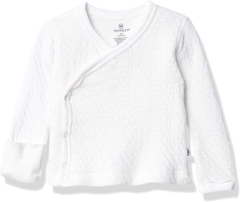 HonestBaby Baby Organic Cotton Matelasse Side-Snap Kimono Top: Clothing