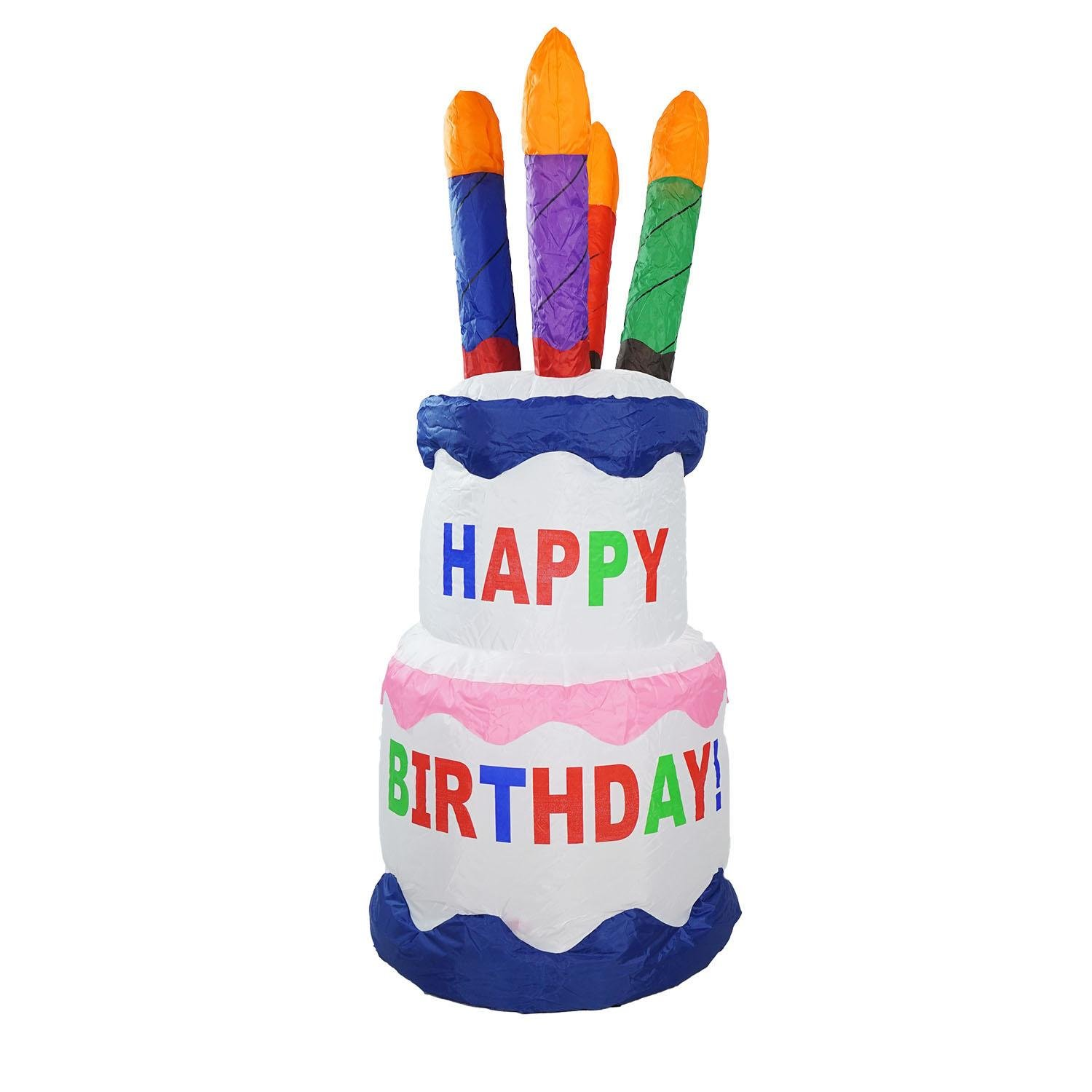 Northlight 4' Inflatable Lighted Happy Birthday Cake Outdoor Decoration
