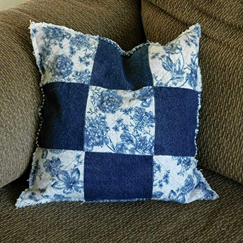 (Recycled Jeans and Blue Floral Flannel Patchwork Throw Toss Pillow 16 x 16 )