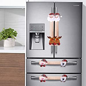 Supzone Christmas Refrigerator Handle Covers Set of 4 Kitchen Appliance Xmas Linen Decor Santa Snowman Elk Fridge Microwave Oven Dishwasher Door Handle Cover Protector Home Christmas Decorative