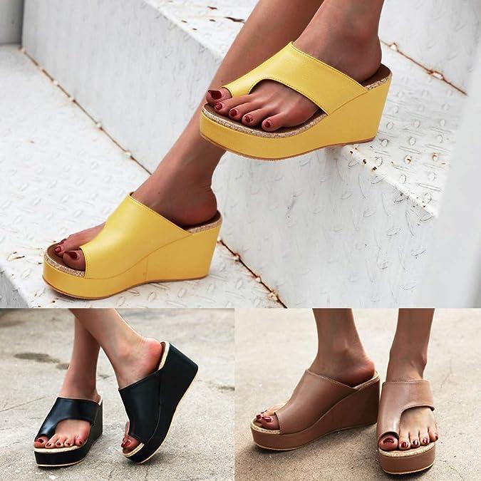 Sandales /à Talon Plateforme Chaussure de Plage Casual Flip Flops Confortable Mule Clip Toe Pantoufles OverDose Sandales Tongs Compens/ées Femme