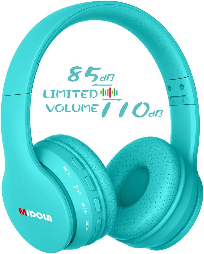 Midola Volume Limited 85dB Kids Headphone Bluetooth Wireless Over Ear Foldable Stereo Sound Noise Protection Headset with AUX 3.5mm Cord Mic for Boys Girls Cellphone Ipad Tablets TV Notebook Cyan