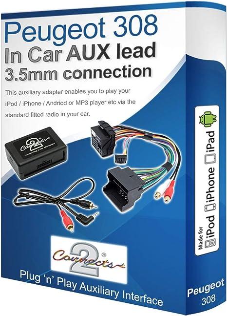 Kit de Adaptador Auxiliar Peugeot Peugeot 308 Aux plomo iPod iPhone Reproductor de MP3