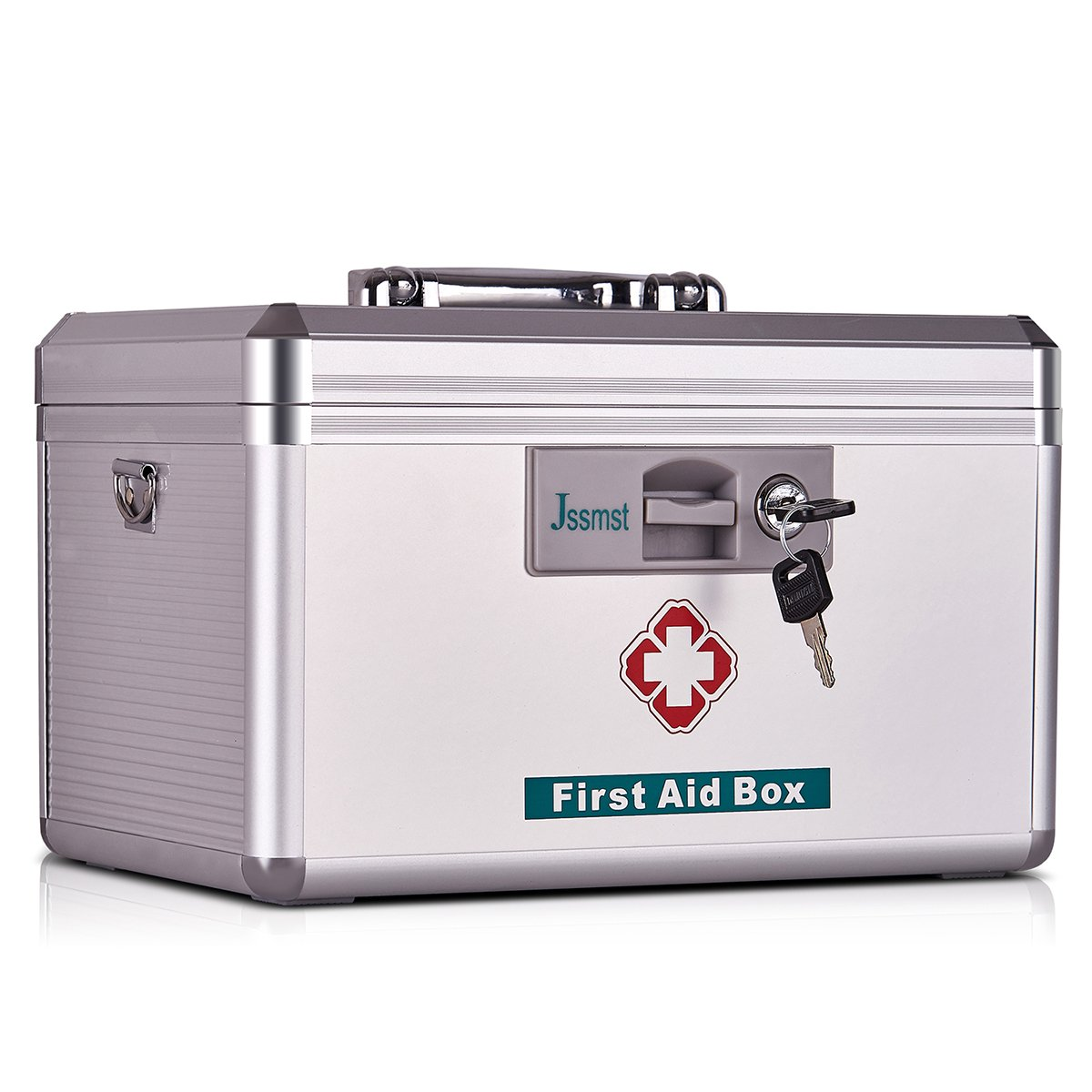 Jssmst Medical Box with Lock - First Aid Box Emergency Medicine Case with Drugs Storage, 15.35 x 9.05 x 8.66 inches, Silver (MC17023)