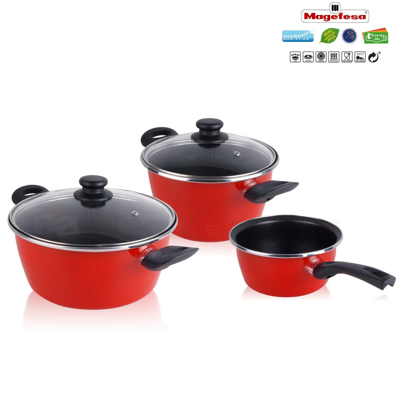 Magefesa Bateria de cocina 5 piezas + Set Juego 3 Sartenes 18-20-24 cm, inducción, antiadherente libre de PFOA, limpieza lavavajillas apta todas las cocinas ...
