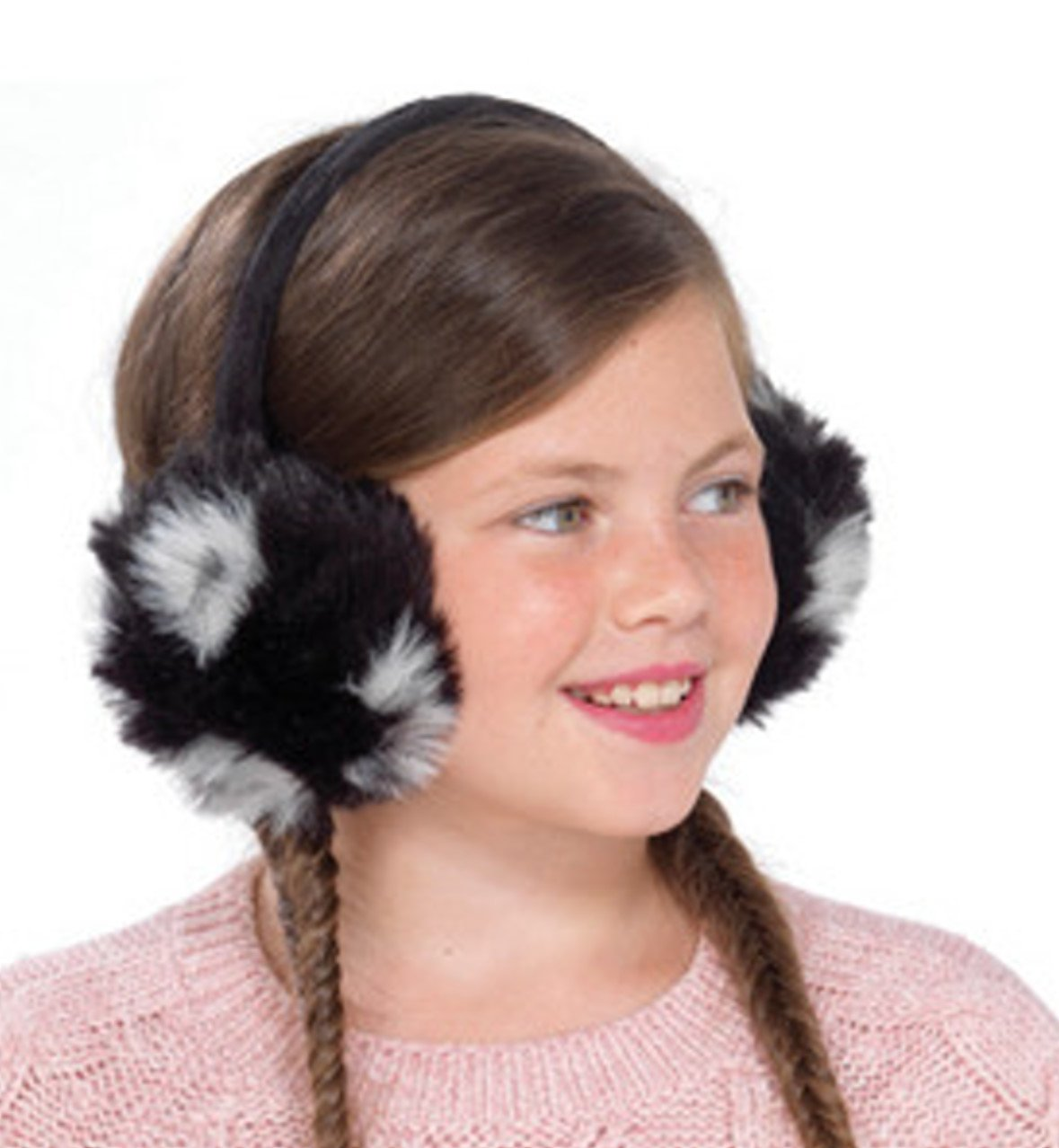 Girls Fluffy Faux Fur Plush Ear Muffs - 4 Colours To Choose From GL056_BLACK