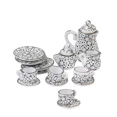 15pcs Ustensiles à Thé en Porcelaine Miniature pour 1/12 Maison de Poupée Motif de Marguerite