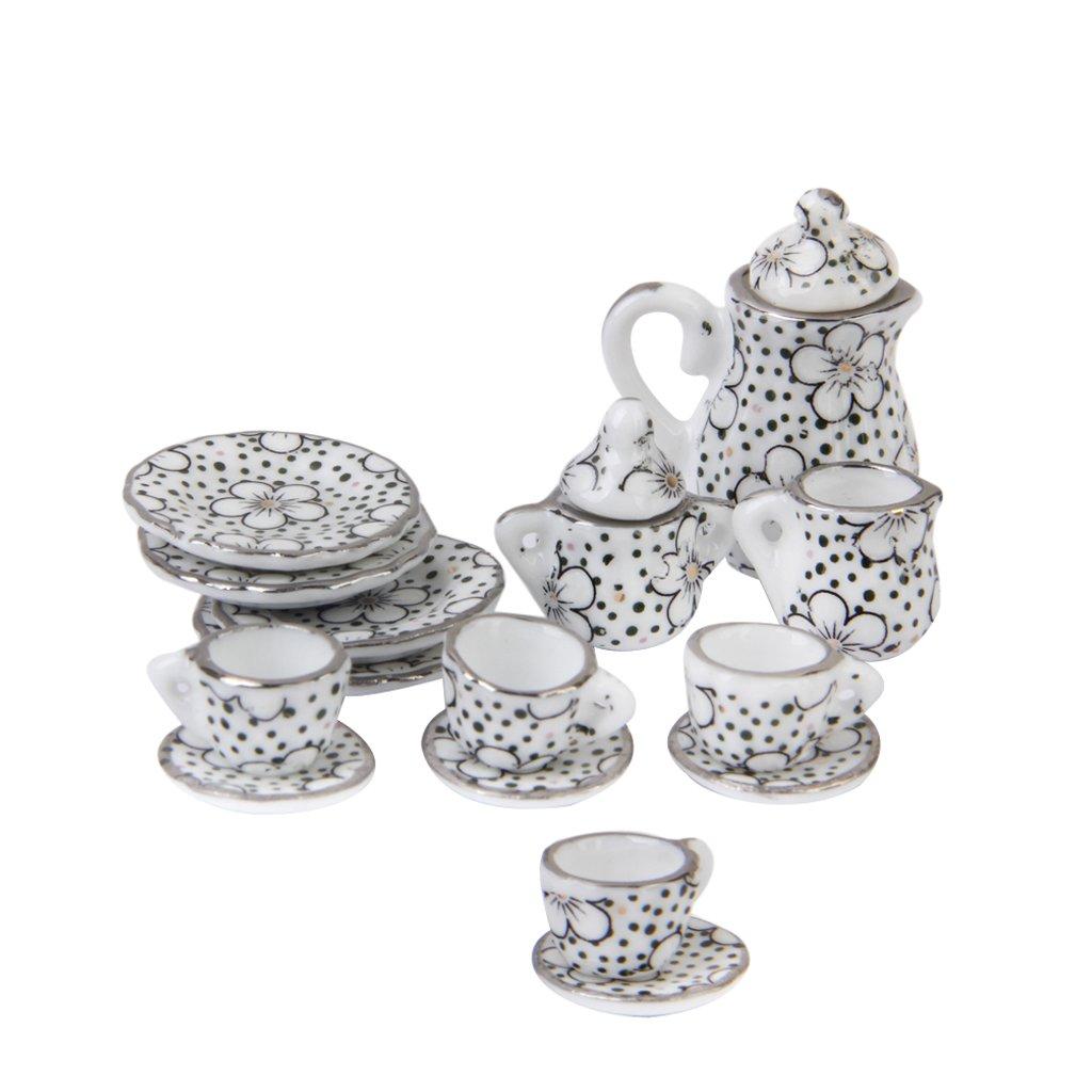 1/12 Dollhouse Miniature Dining Ware Porcelain Tea Set Pot Cup Dish Set of 15 Daisy Pattern Generic