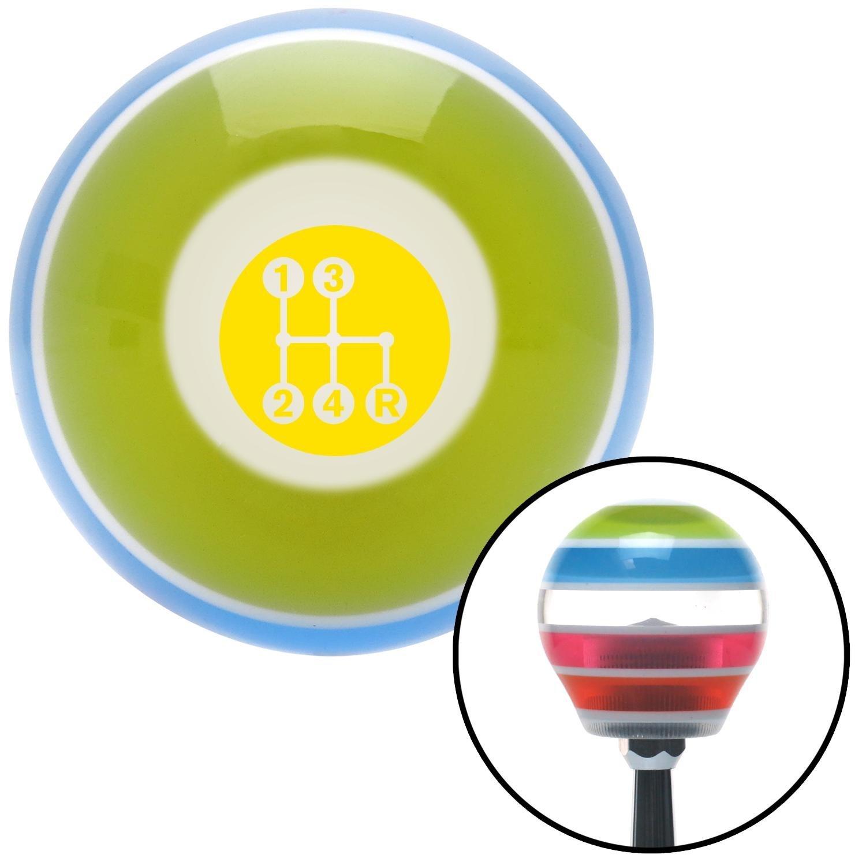American Shifter 273167 Yellow 4 Speed Pattern-Dots 6 Stripe Shift Knob with M16 x 1.5 Insert