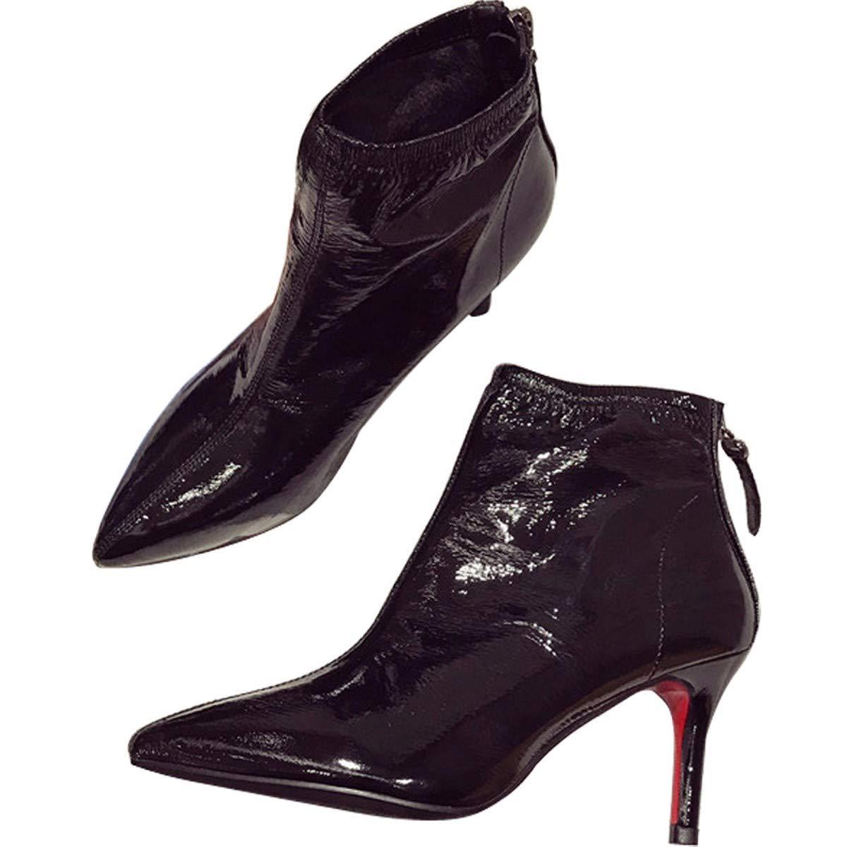 HBDLH Damenschuhe Stiefel, Herbst und Winter Mode, Joker Kurze Stiefel, Um Spitzen - Dünne Heels, Reißverschlüsse, High Heels 7Cm Martin Stiefel.