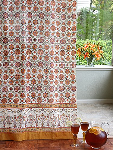 Saffron Marigold – Orange Blossom – Orange, Yellow, and White Floral Mediterranean Inspired Hand Printed – Sheer Cotton Voile Curtain Panel – Tab Top or Rod Pocket – (46